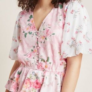 NWT Anthropologie Rose Garden Blouse XS pink